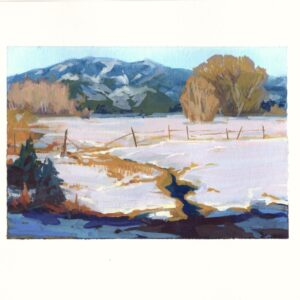 Santa Fe Marketplace Snow Field, New Mexico – Original framed gouache painting