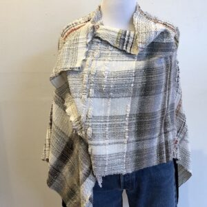 Santa Fe Marketplace Handwoven White Cotton Shawl with Pin