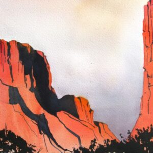 Santa Fe Marketplace Diablo Canyon Sunrise – Watercolor Painting