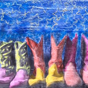 Santa Fe Marketplace Boots Made For Walking – Original Mixed Media Art