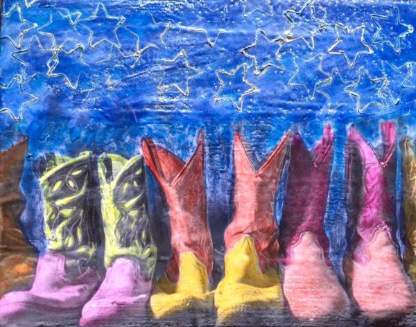 Santa Fe Marketplace Boots Made For Walking – Original Mixed Media Art