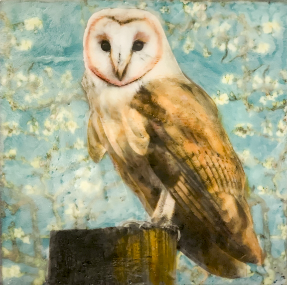 Santa Fe Marketplace Owl In The Garden – Original Mixed Media Art