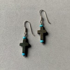 Santa Fe Marketplace Pyrite Cross and Turquoise Earrings