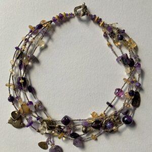 Santa Fe Marketplace Amethyst and Citrine Multi-Strand Necklace