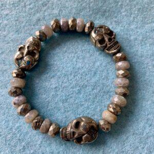 Santa Fe Marketplace Pyrite Skull Bracelet