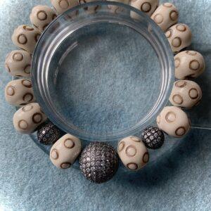 Santa Fe Marketplace Bone and Pave Bracelet