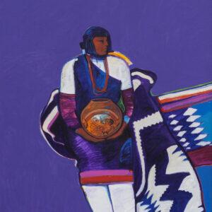 Santa Fe Marketplace Indian Woman with Pot by John Nieto