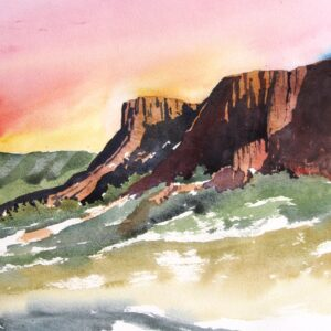 Santa Fe Marketplace Desert Cliffs – Original Watercolor Painting