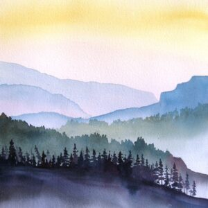 Santa Fe Marketplace Mountain Sunrise – Original Watercolor Painting