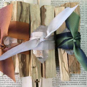 Santa Fe Marketplace Ribbon Wrapped Palo Santo Quartz Bundle