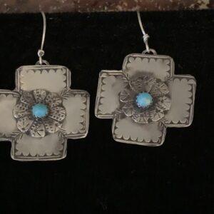 Santa Fe Marketplace Silver Cross Earrings