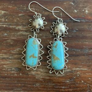 Santa Fe Marketplace Turquoise & Silver Wire Accent Earrings