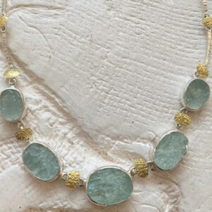 Santa Fe Marketplace Natural Face Aquamarine Necklace