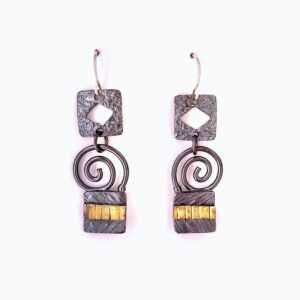 Santa Fe Marketplace Blackened Silver & 22KY Bi-Metal Earrings