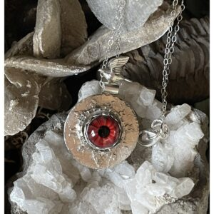 Santa Fe Marketplace Lampwork Glass Red Eye Necklace with Flying Bird