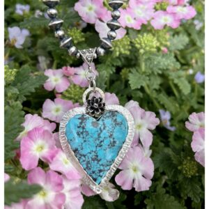 Santa Fe Marketplace Morenci Turquoise Heart with Flower Necklace