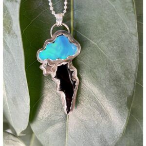 Santa Fe Marketplace Nova Opal Cloud Jet Bolt Necklace with Star