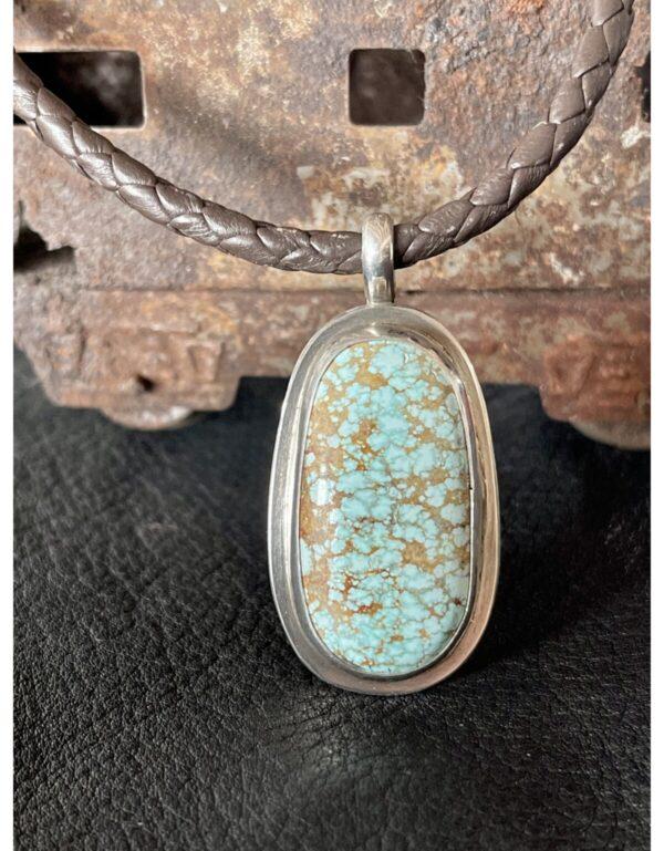 Santa Fe Marketplace Old #8 Mine Turquoise Pendant on Leather Necklace