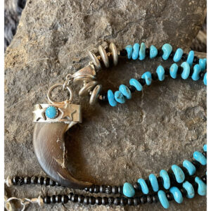Santa Fe Marketplace Real Bear Claw Turquoise Necklace
