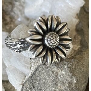 Santa Fe Marketplace Sterling Hand Cast Sunflower on Twig Ring Size6.5
