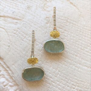 Santa Fe Marketplace Natural Face Aqua Post Earrings
