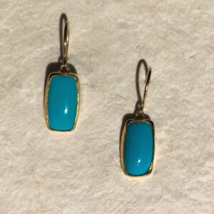 Santa Fe Marketplace 22KY & 18KY Gold Sleeping Beauty Turquoise Earrings