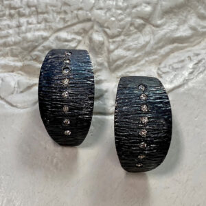 Santa Fe Marketplace Oxidized Sterling Silver Diamond Post Earrings