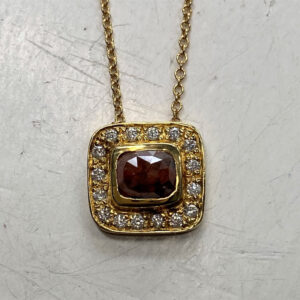 Santa Fe Marketplace Natural Red & White Diamond Square Pendant