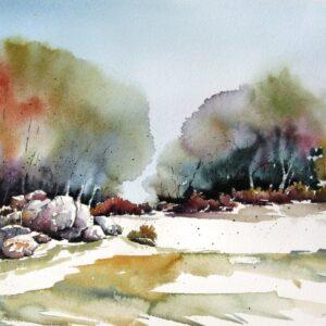 Santa Fe Marketplace Forest Stones – Original Watercolor Painting