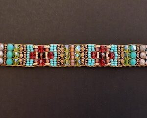 "Santa Fe Marketplace ""Red Poppies"" Chili Rose Beaded Bracelet by Adonnah Langer"