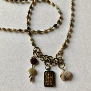 Santa Fe Marketplace Agates and Buddha Necklace
