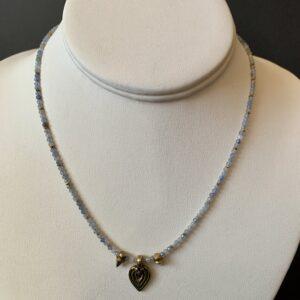 Santa Fe Marketplace Tiny Aquamarine Beaded Necklace