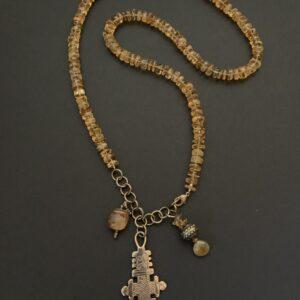 Santa Fe Marketplace Citrine and Charm Necklace