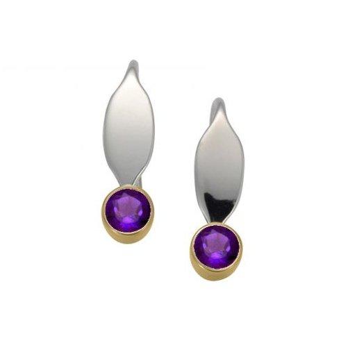 """Santa Fe Marketplace Silver & Gold Amethyst """"La Petite"""" Earrings"""