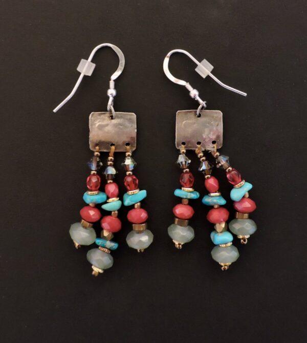 "Santa Fe Marketplace ""Jingle Jangle"" Chili Rose Earrings by Adonnah Langer"