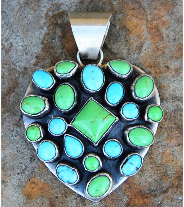 Santa Fe Marketplace Turquoise Heart Pendant by Rocki Gorman