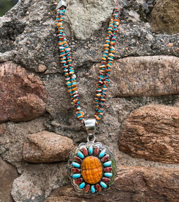 Santa Fe Marketplace Spiny Oyster & Turquoise Pendant