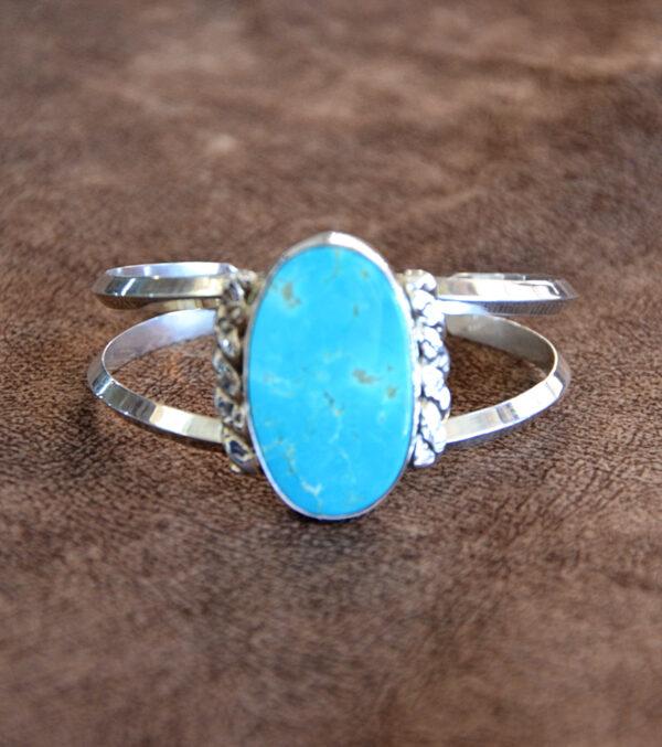 Santa Fe Marketplace Kingman Turquoise Sterling Bracelet