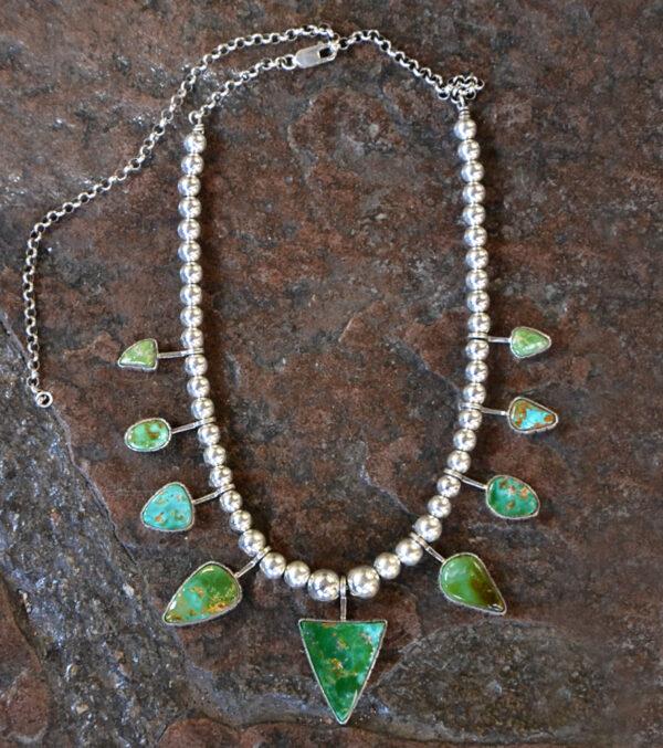 Santa Fe Marketplace King Manassa Turquoise 9 Stone Necklace