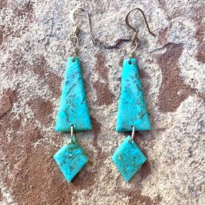 Santa Fe Marketplace Kingman Turquoise Dangle Earrings
