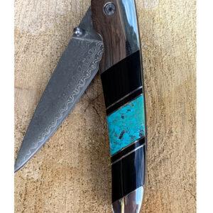 Santa Fe Marketplace Jet & Turquoise Damascus 4″ Linerlock Knife