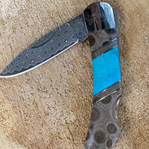 Santa Fe Marketplace Petoskey Fossil & Turquoise Damascus Knife