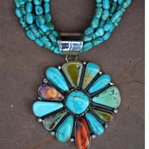 Santa Fe Marketplace Turquoise Flower Necklace