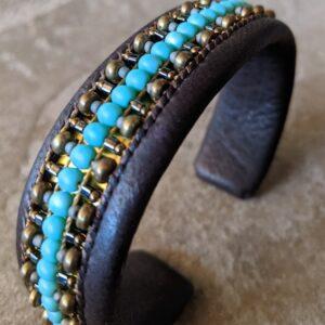 "Santa Fe Marketplace "" Big Man"" Men Chili Rose cuff leather bracelet"