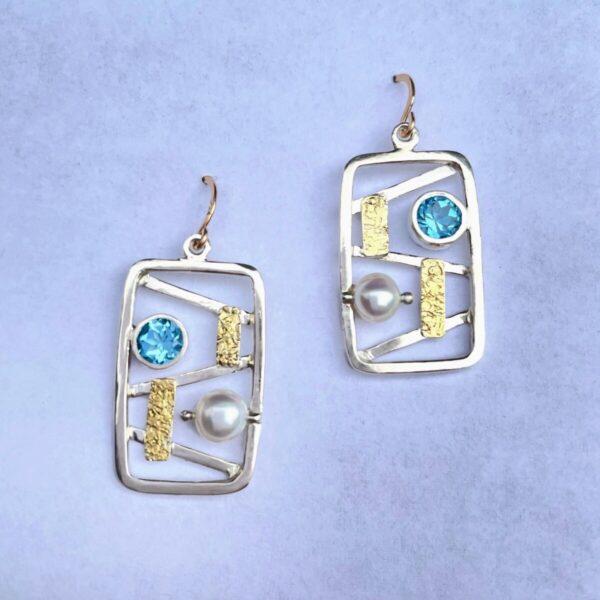 Santa Fe Marketplace Blue Topaz & Pearl Frame Earrings