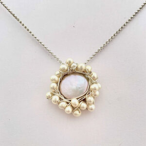 Santa Fe Marketplace Silver Coin Pearl Cluster Necklace