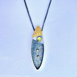 "Santa Fe Marketplace Oxidized Silver & Gold ""Open Blade"" Necklace"