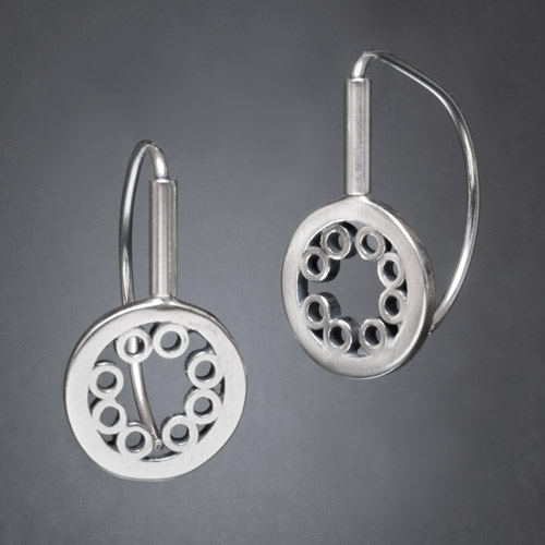 """Santa Fe Marketplace """"Concentric"""" Sterling Silver Earrings"""