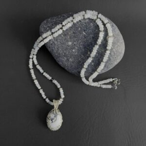 Santa Fe Marketplace Moonstone Necklace with Howlite Pendant