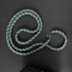 Santa Fe Marketplace Turquoise and Tan Beaded Rope Necklace